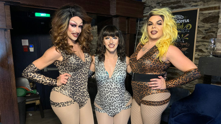 The Haus of Rivers after a Wigs and Waffles performance. From left to right: Brooke Rivers, Trinity Foxx and Racheal.