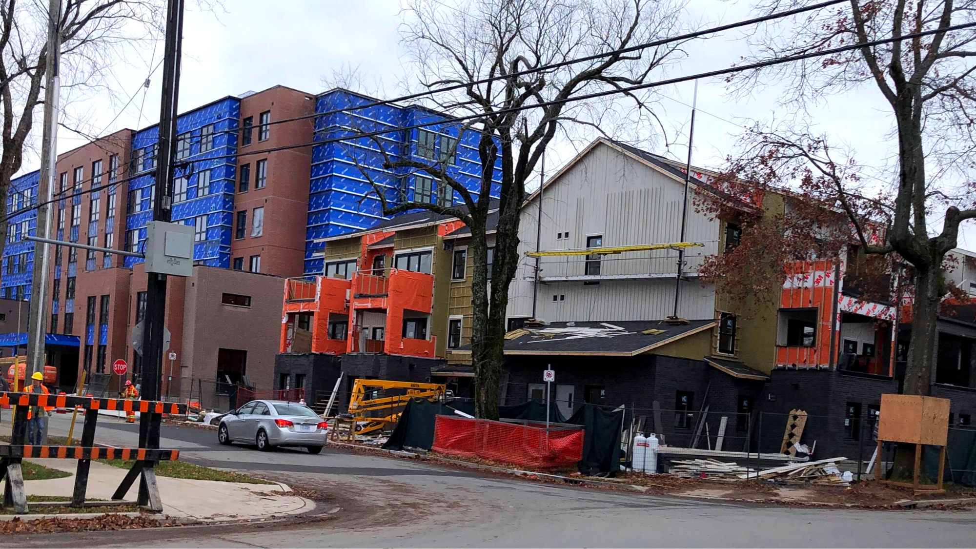 Housing developments on the corner of Preston and Pepperell streets in Halifax.