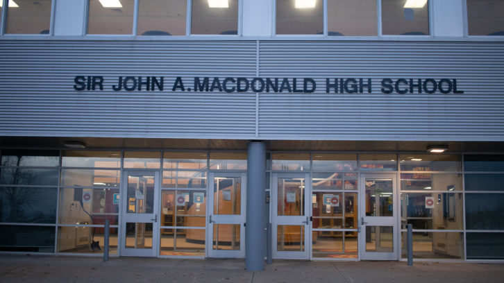 Sir John A. Macdonald High School's main doors.