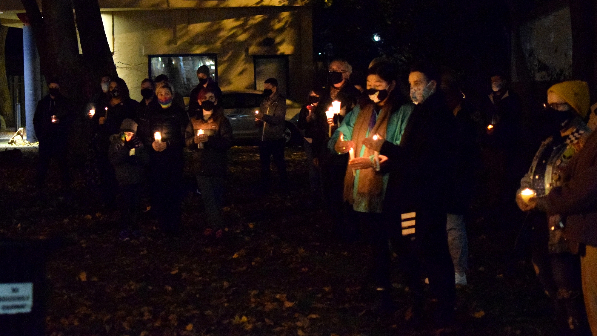 People gather at Raymond Taavel Park in Halifax to honour transgender lives lost because of transphobia.