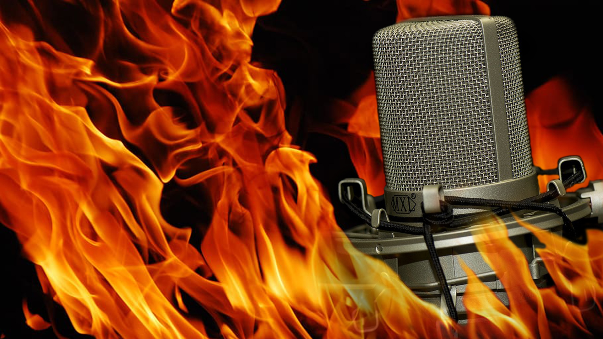 A microphone is surrounded by fire in this photo illustration.