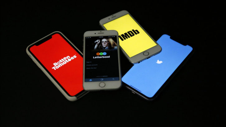 Cellphones show various online movie review sites in this photo illustration.
