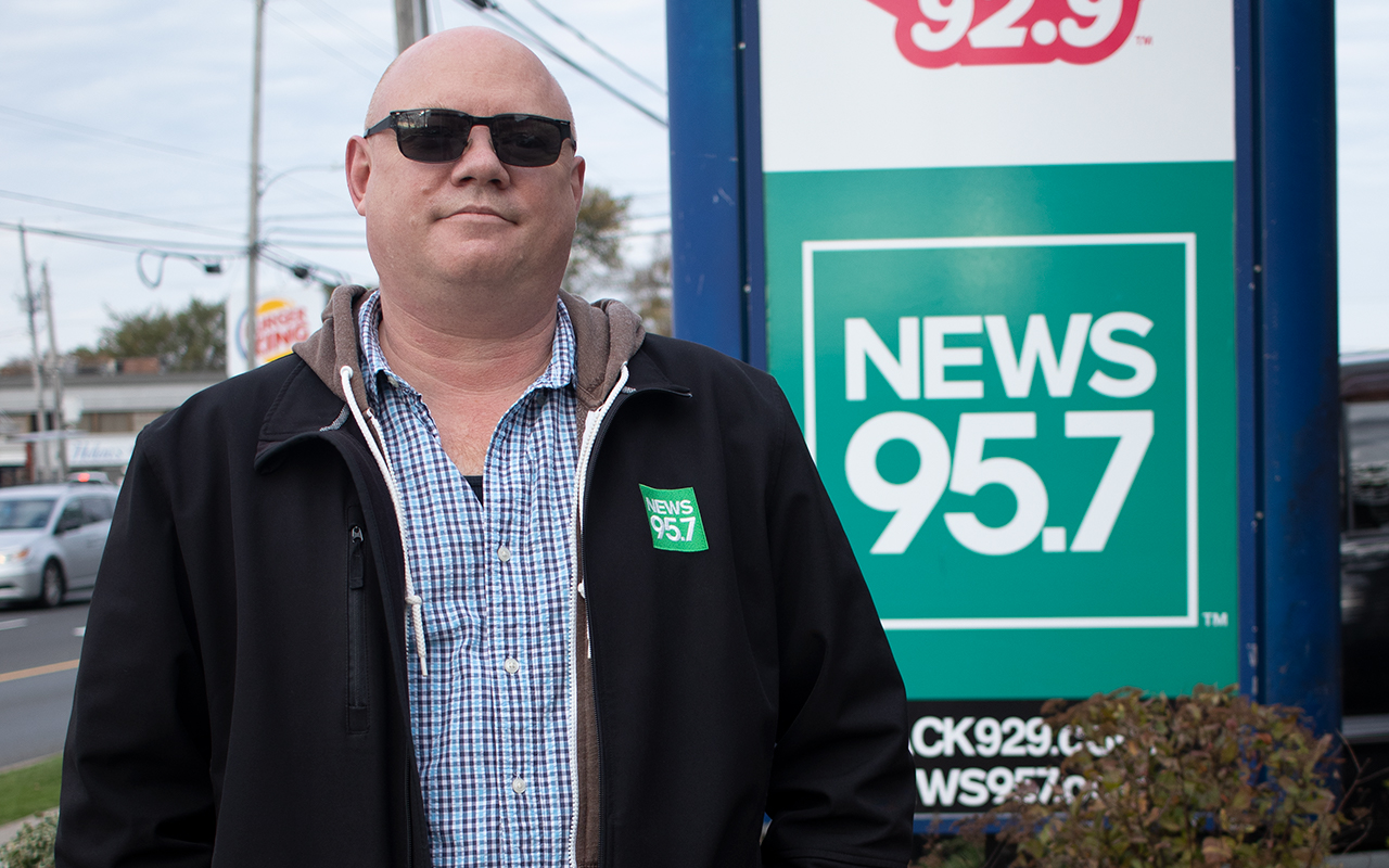 Sheldon McLeod in front of News 95.7 in Halifax.