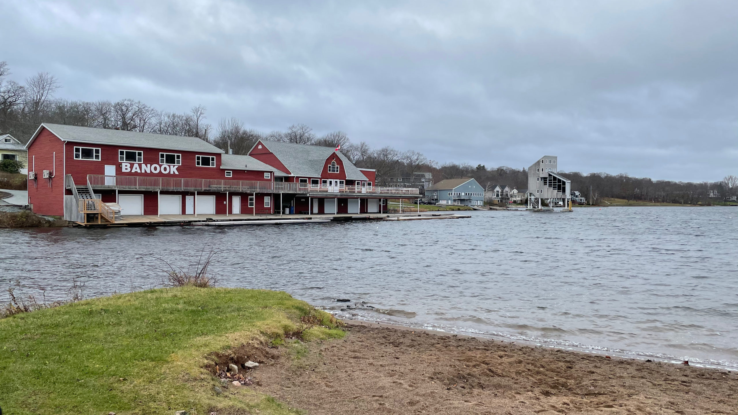 The historic Banook Canoe Club seen from Lion's Beach Park