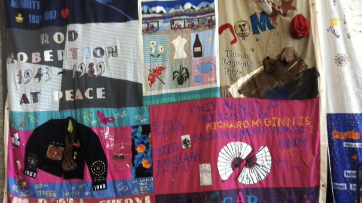 Some panels from the AIDS Memorial Quilt, a memorial to celebrate the lives of people who have died of AIDS-related causes.