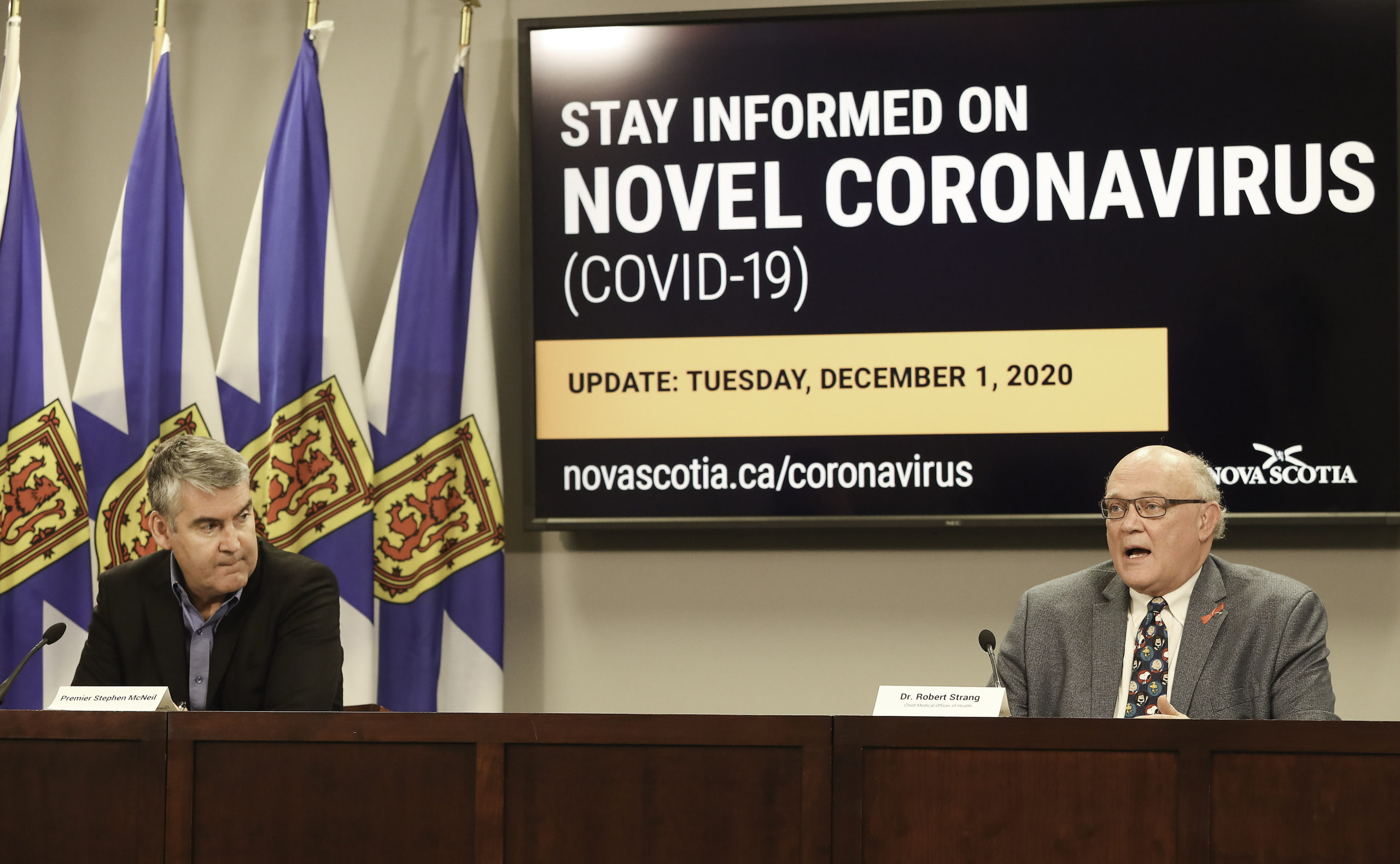 Premier Stephen McNeil and Chief Medical Officer of Health Dr. Robert Strang speak at Tuesday's COVID-19 update.