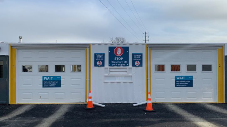 The drive-thru COVID-19 test clinic in Dartmouth.