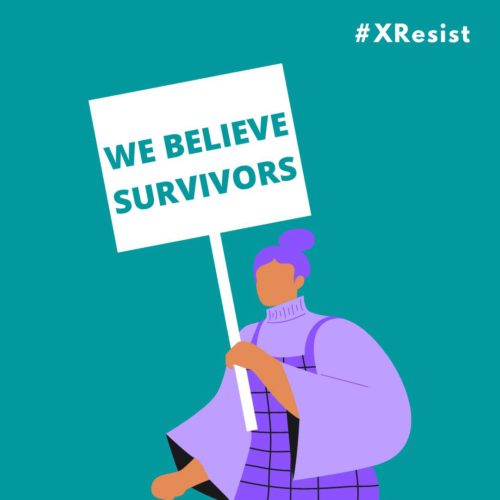 Image from student protests shows a stylized woman holding a sign that says We Believe Survivors