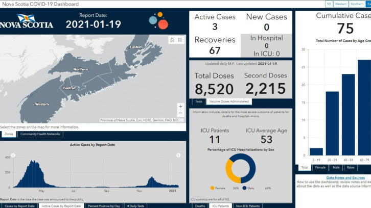 A screenshot of the new COVID-19 dashboard.