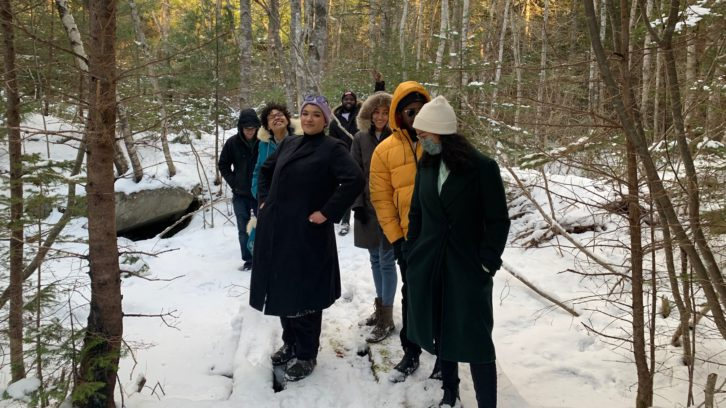 Lauryn Guest (left) pictured with members of Change is Brewing Collective and SEED, on a walk through Birchtown.