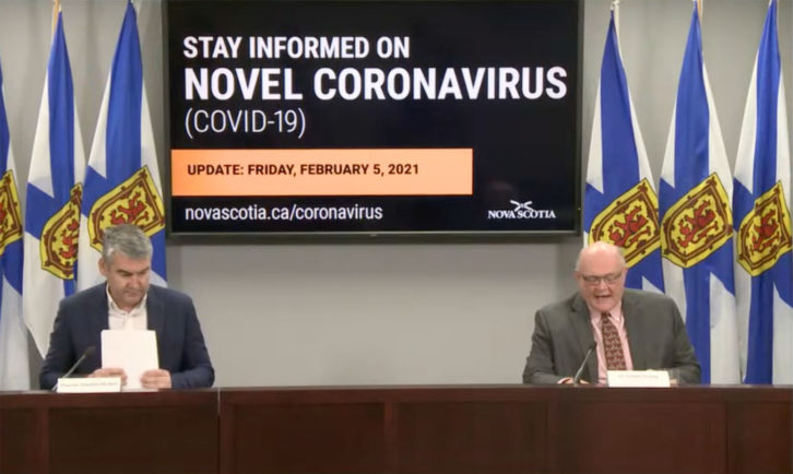 Premier Stephen McNeil (left) and Chief Medical Officer of Health Dr. Robert Strang announce no new COVID-19 cases on Friday.