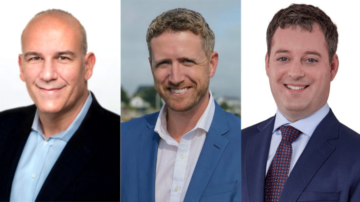 Candidates running to be the next premier of Nova Scotia. Left to right is Labi Kousoulis, Iain Rankin, and Randy Delorey.