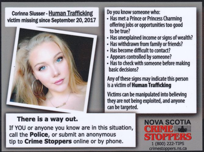 Crime Stoppers human trafficking awareness poster is pictured