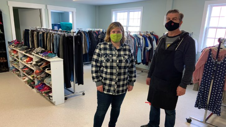 Lisa Jarvis and Will Radford with Souls Harbour Rescue Mission in the newly-reopened Basic Needs Room.