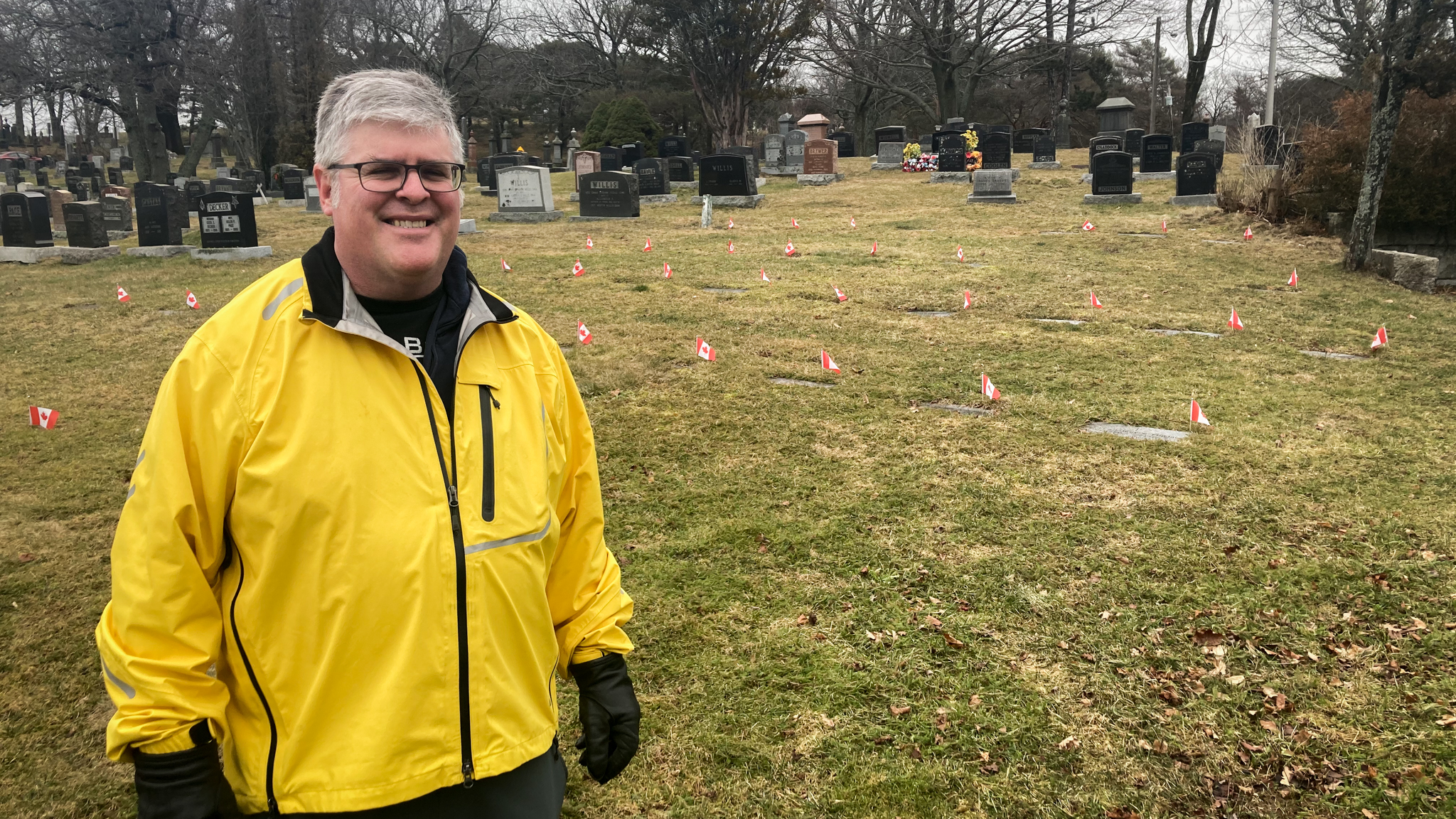 Steve St. Amant stands in the military section of the Fairview Cemetery in Halifax.