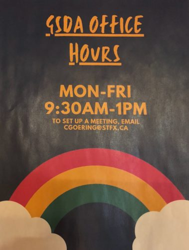 Pictured is a poster for St. FX's gender and sexual diversity adviser's office hours