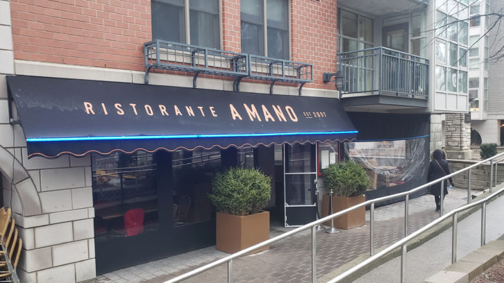 Ristorante a Mano is one of several downtown Halifax restaurants that have set up outdoor shelters for diners