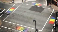Rainbow crosswalks at the intersection of Spring Garden Road and Queen Street, as seen from the Halifax Central Library