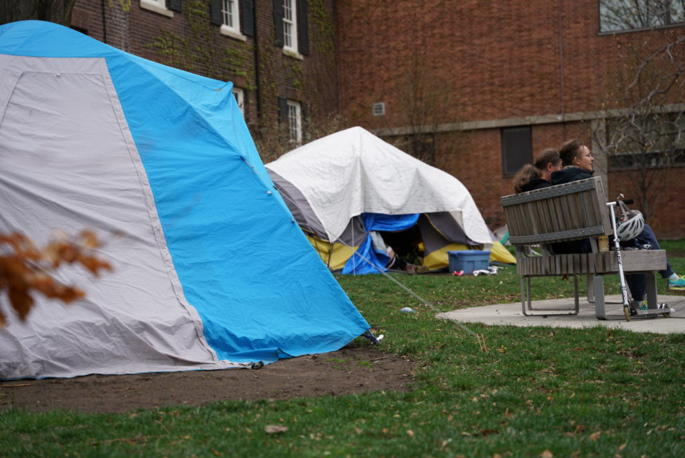 Those experiencing homelessness in Toronto have continued sleeping in public spaces like Grange Park during the pandemic.
