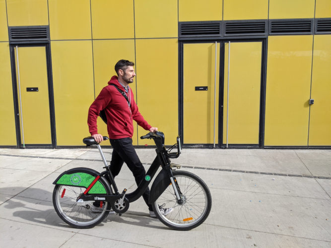 Stephen-Thomas Maciejowski uses bike sharing to avoid taking the TTC, and to stay mentally and physically fit while socializing safely. Sunday bike trips with a friend are a big part of this.